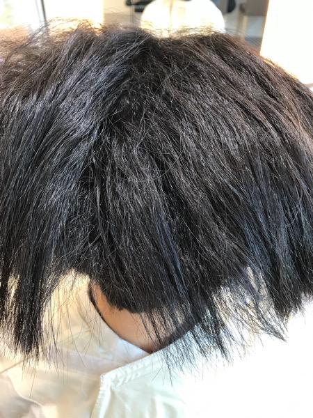 縮毛矯正の途中工程